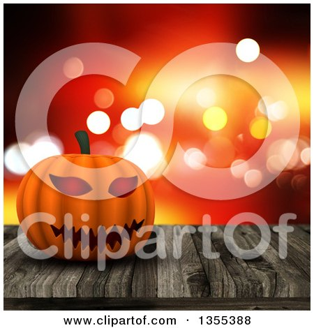 Clipart of a 3d Halloween Jackolantern Pumpkin on an Aged Wood Table over Sparkles - Royalty Free Illustration by KJ Pargeter