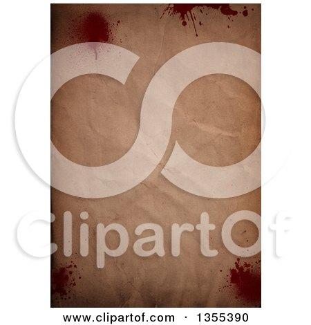 Clipart of a Crinkled Vintage Paper Background with Blood Splatters - Royalty Free Illustration by KJ Pargeter