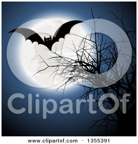 Clipart of a Flying Halloween Vampire Bat over a Bare Tree and a Full Moon - Royalty Free Vector Illustration by KJ Pargeter