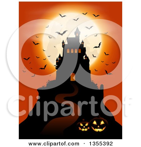Clipart of a Silhouetted Spooky Haunted Halloween Castle on a Hill Against a Full Moon with Vampire Bats, Lit Jackolanterns and an Orange Sky - Royalty Free Vector Illustration by KJ Pargeter