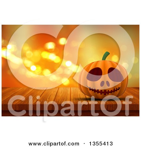 Clipart of a 3d Halloween Jackolantern Pumpkin on a Wood Table over Orange Sparkles - Royalty Free Illustration by KJ Pargeter