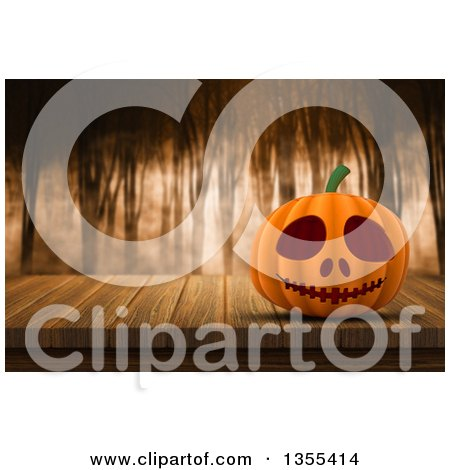 Clipart of a 3d Halloween Jackolantern Pumpkin on a Wood Table over a Foggy Forest - Royalty Free Illustration by KJ Pargeter