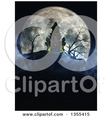 Clipart Of A 3d Haunted Halloween Castle On A Hill Against A Giant Full Moon With A Cemetery In The Foreground Royalty Free Illustration