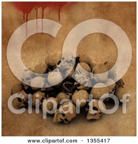 Clipart of a Pile of 3d Human Skulls over a Bloody Grunge Background - Royalty Free Illustration by KJ Pargeter