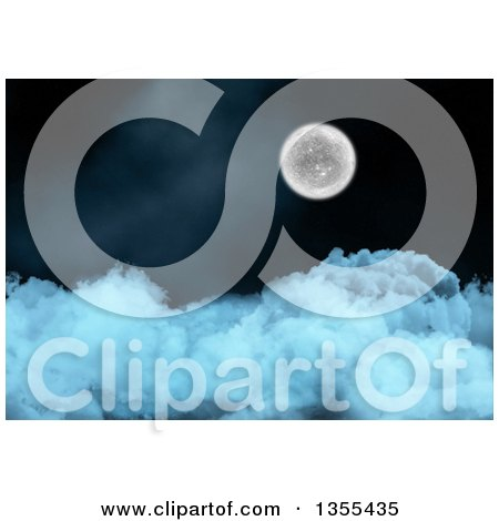 Clipart of a 3d Full Moon over Thick Clouds - Royalty Free Illustration by KJ Pargeter