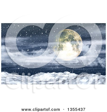 Clipart of a 3d Full Moon over a Blizzard Storm and Snowy Winter Landscape - Royalty Free Illustration by KJ Pargeter