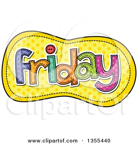 Clipart of a Cartoon Stitched Friday Day of the Week over Yellow Polka Dots - Royalty Free Vector Illustration by Prawny