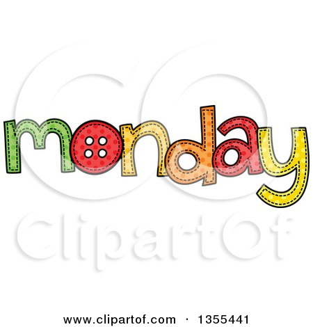 Clipart of a Cartoon Stitched Monday Day of the Week - Royalty Free Vector Illustration by Prawny