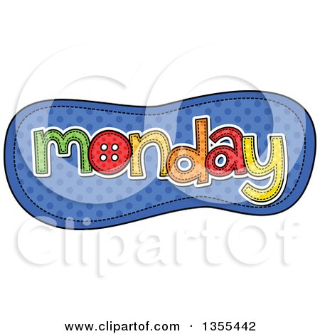 Clipart of a Cartoon Stitched Monday Day of the Week over Blue Polka Dots - Royalty Free Vector Illustration by Prawny