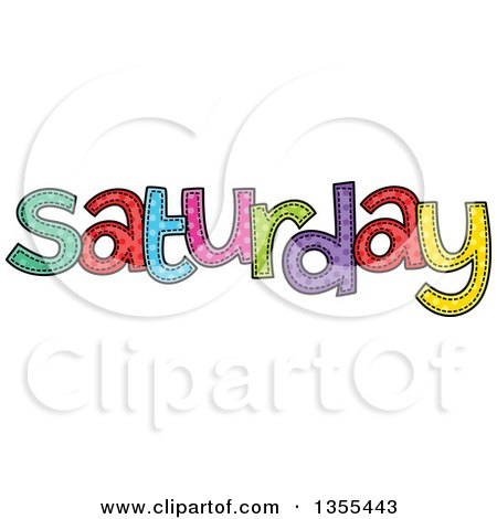 Clipart of a Cartoon Stitched Saturday Day of the Week - Royalty Free Vector Illustration by Prawny