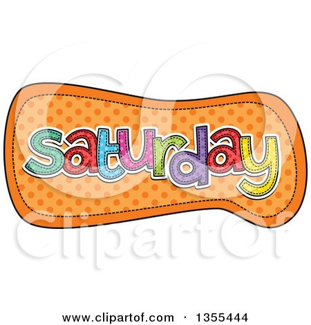 Clipart of a Cartoon Stitched Saturday Day of the Week over Orange Polka Dots - Royalty Free Vector Illustration by Prawny