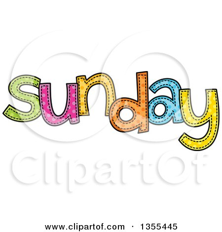 Clipart of a Cartoon Stitched Sunday Day of the Week - Royalty Free Vector Illustration by Prawny