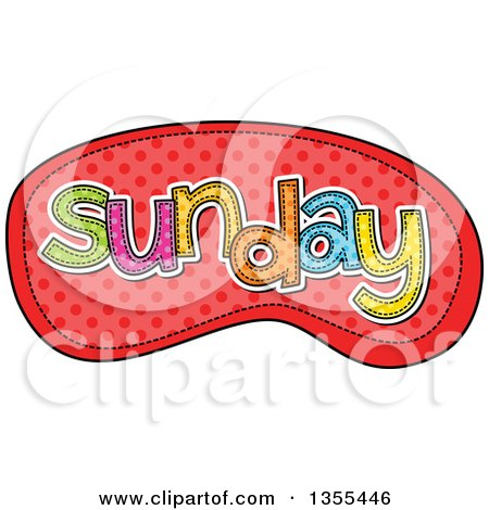 Cartoon Stitched Sunday Day of the Week over Red Polka Dots Posters, Art Prints