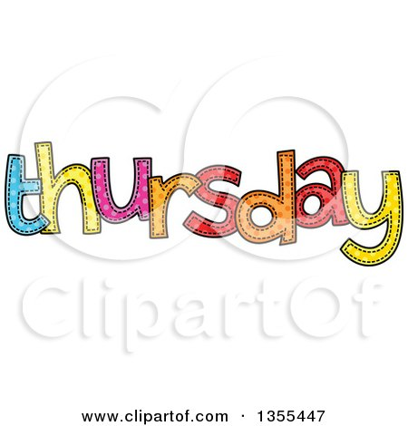 Clipart of a Cartoon Stitched Thursday Day of the Week - Royalty Free Vector Illustration by Prawny