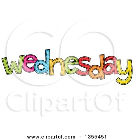 Clipart of a Cartoon Stitched Wednesday Day of the Week - Royalty Free Vector Illustration by Prawny