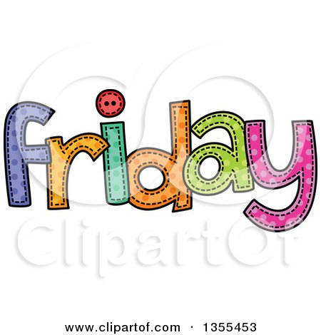 Clipart of a Cartoon Stitched Friday Day of the Week - Royalty Free Vector Illustration by Prawny