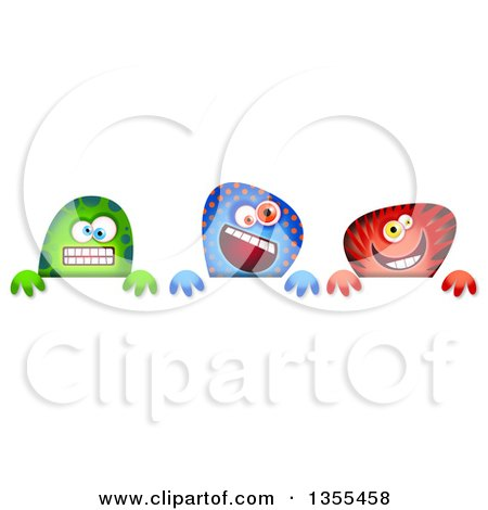 Clipart of Green Blue and Red Monsters over a Sign - Royalty Free Illustration by Prawny