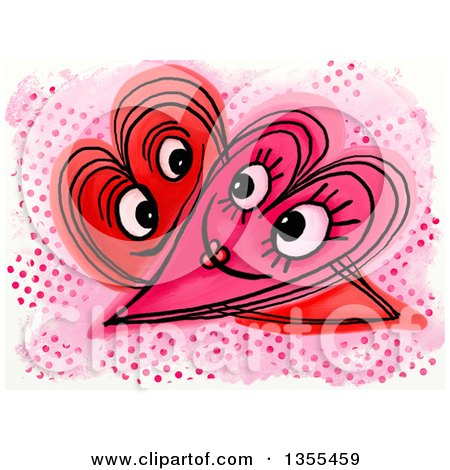 Clipart of a Doodled Intimate Heart Couple over Halftone Dots - Royalty Free Illustration by Prawny