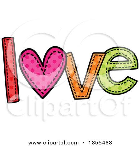 Cartoon Stitched Word Love Posters, Art Prints