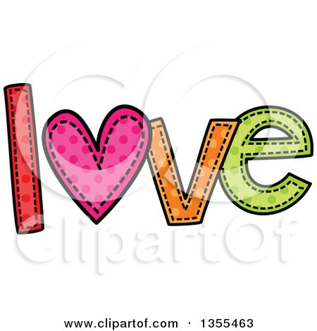 Clipart of a Cartoon Stitched Word Love - Royalty Free Vector Illustration by Prawny