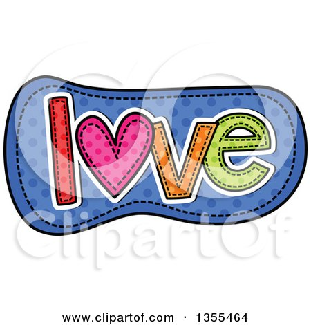 Clipart of a Cartoon Stitched Word Love over Blue Polka Dots - Royalty Free Vector Illustration by Prawny