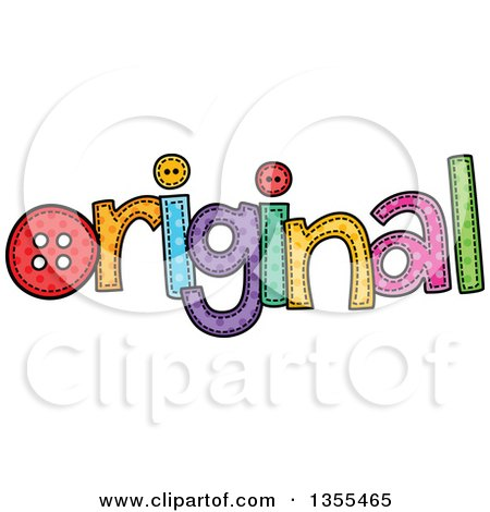Clipart of a Cartoon Stitched Word Original - Royalty Free Vector Illustration by Prawny