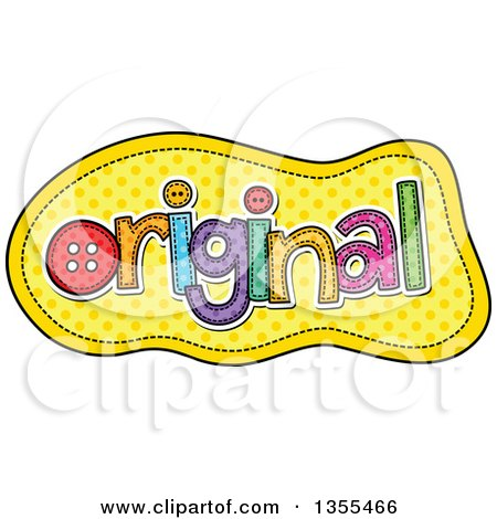 Clipart of a Cartoon Stitched Word Original over Yellow Polka Dots - Royalty Free Vector Illustration by Prawny