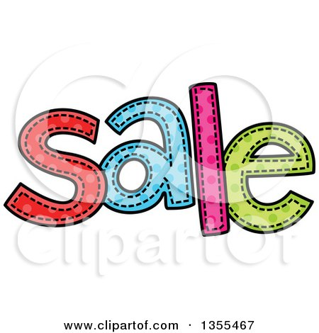 Clipart of a Cartoon Stitched Word Sale - Royalty Free Vector Illustration by Prawny