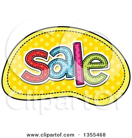 Clipart of a Cartoon Stitched Word Sale over Yellow Polka Dots - Royalty Free Vector Illustration by Prawny