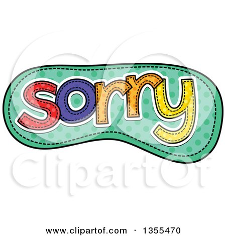 Clipart of a Cartoon Stitched Word Sorry over Green Polka Dots - Royalty Free Vector Illustration by Prawny