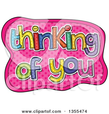 Clipart of Cartoon Stitched Words Thinking of You over Pink Polka Dots - Royalty Free Vector Illustration by Prawny
