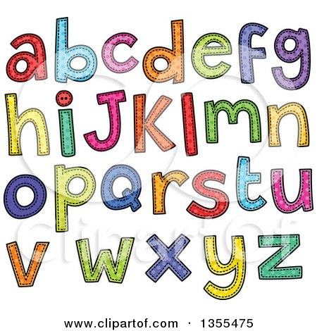 Clipart of Cartoon Stitched Alphabet Letters - Royalty Free Vector Illustration by Prawny