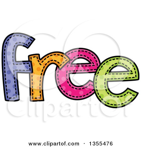 Clipart of a Cartoon Stitched Word FREE - Royalty Free Vector Illustration by Prawny