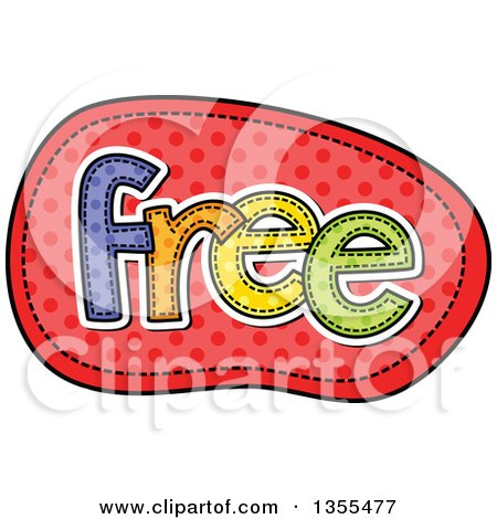 Clipart of a Cartoon Stitched Word FREE over Red Polka Dots - Royalty Free Vector Illustration by Prawny