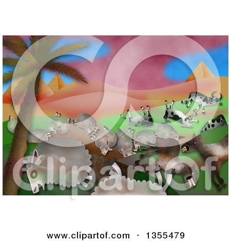 Clipart of a Scene of the Fifth Plague in the Book of Exodus, Plague of Livestock, Grievous Murrain - Royalty Free Illustration by Prawny