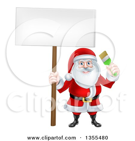 Clipart of a Christmas Santa Claus Holding a Green Paintbrush and Blank Sign - Royalty Free Vector Illustration by AtStockIllustration