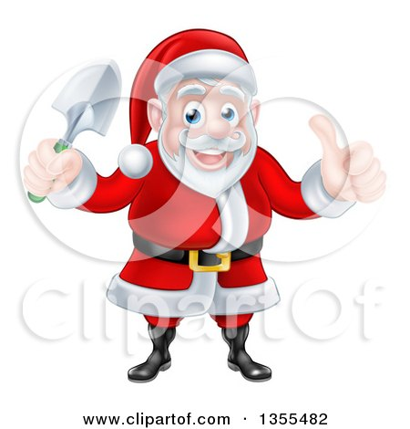 Clipart of a Cartoon Santa Giving a Thumb up and Holding a Garden Trowel - Royalty Free Vector Illustration by AtStockIllustration
