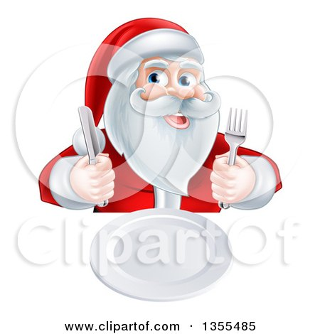 Clipart of a Happy Hungry Christmas Santa Claus Sitting with a Clean Plate and Holding Silverware - Royalty Free Vector Illustration by AtStockIllustration