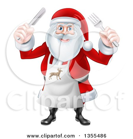 Clipart of a Happy Christmas Santa Claus Wearing an Apron and Holding Silverware - Royalty Free Vector Illustration by AtStockIllustration