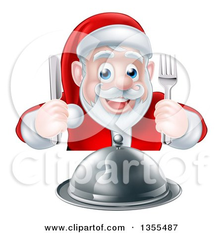 Clipart of a Happy Hungry Christmas Santa Claus Sitting with a Cloche Platter and Holding Silverware - Royalty Free Vector Illustration by AtStockIllustration
