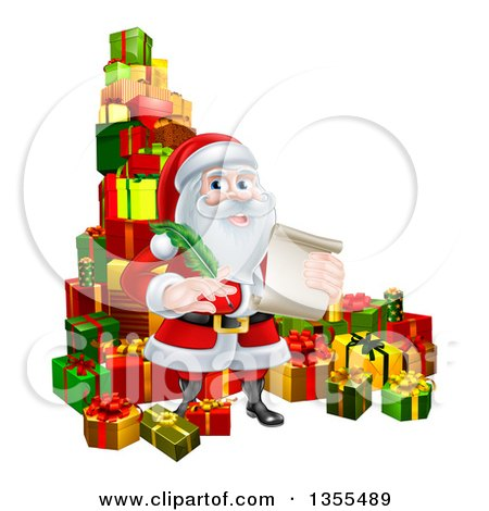 Clipart of a Cartoon Happy Christmas Santa Claus Holding a Parchment Scroll and Quill Pen in a Pile of Gifts - Royalty Free Vector Illustration by AtStockIllustration