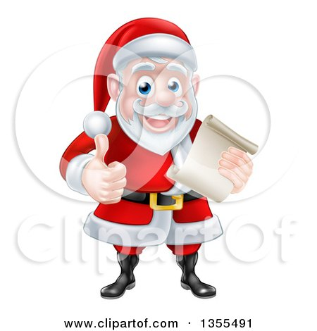 Clipart of a Cartoon Happy Christmas Santa Claus Holding a Parchment Scroll and Giving a Thumb up - Royalty Free Vector Illustration by AtStockIllustration