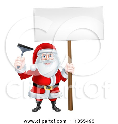 Clipart of a Christmas Santa Claus Holding a Window Cleaning Squeegee and Blank Sign - Royalty Free Vector Illustration by AtStockIllustration