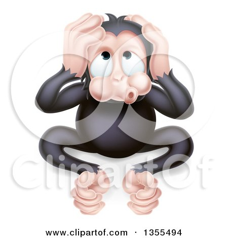 Clipart of a Cartoon Black Hear No Evil Wise Monkey Covering His Ears - Royalty Free Vector Illustration by AtStockIllustration