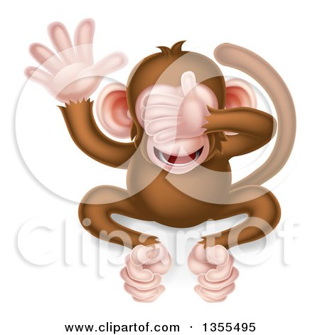 Clipart of a Cartoon See No Evil Wise Monkey Covering His Eyes - Royalty Free Vector Illustration by AtStockIllustration