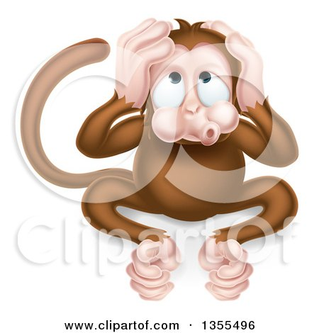 Clipart of a Cartoon Hear No Evil Wise Monkey Covering His Ears - Royalty Free Vector Illustration by AtStockIllustration