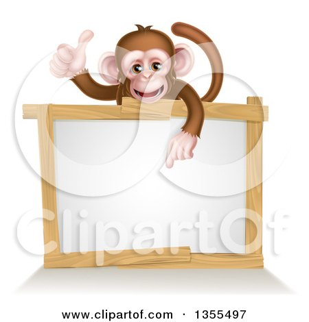 Clipart of a Cartoon Brown Happy Baby Chimpanzee Monkey Giving a Thumb up and Pointing down to a Blank White Sign - Royalty Free Vector Illustration by AtStockIllustration
