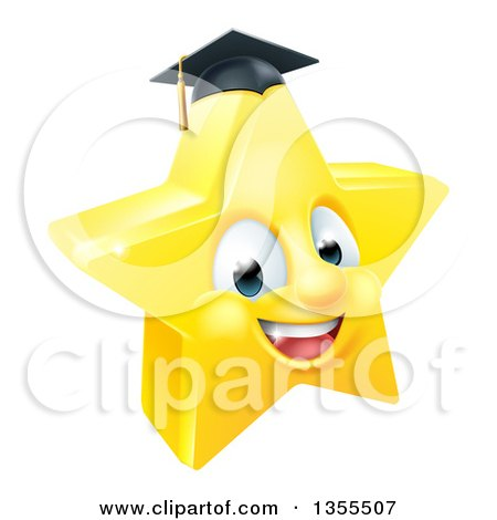 Clipart of a 3d Happy Golden Graduate Star Emoji Emoticon Character - Royalty Free Vector Illustration by AtStockIllustration