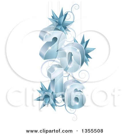 Clipart of a 3d Icy Suspended New Year 2016 Design with Star Ornaments and Swirls - Royalty Free Vector Illustration by AtStockIllustration