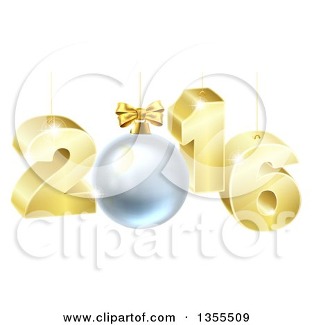 Clipart of a 3d Gold Suspended New Year 2016 Design with a Bauble - Royalty Free Vector Illustration by AtStockIllustration
